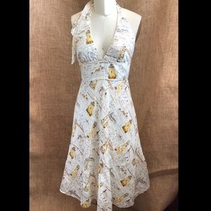 J Crew Linen Vintage Nautical Print Halter Dress 4